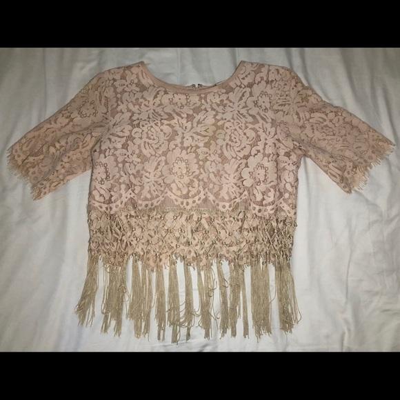 Chelsea & Violet Tops - Light pink lace top